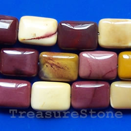 Bead, Mookaite Jasper, 18x25mm flat rectangle. 16-inch strand