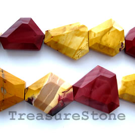 Bead, Mookaite Jasper, 30 to 34mm faceted freeform. 16-inch