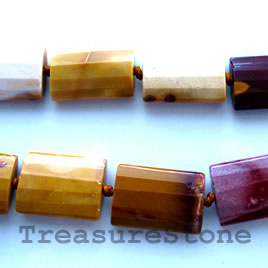 Bead, Mookaite Jasper, 19x25mm faceted puffy rectangle. 16-inch