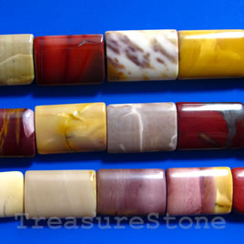 Bead, Mookaite Jasper, 18x25mm puffy rectangle. 16-inch strand