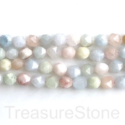 "Bead, morganite, 7x8mm, faceted nugget, star cut. 15"", 48pcs"