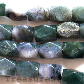 Bead, moss agate, 10x14mm nugget, 16 inch strand