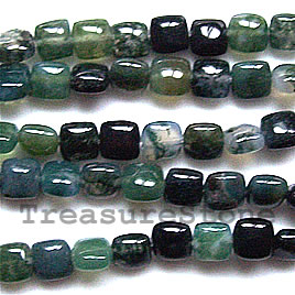 Bead, Moss Agate Square, 6mm, 16 inch strand
