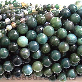 Bead, moss agate, 4mm round. 16 inch strand.