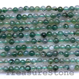 Bead, moss agate, 2mm round. 16 inch strand.