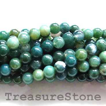 Bead, moss agate, 6mm round. 15.5 inch, 61pcs.