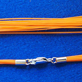 Cord, nylon, orange,16 inch with sterling silver clasp