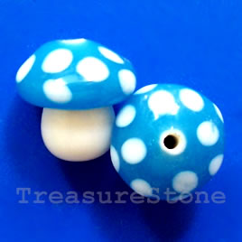 Bead, lampworked glass, blue, 15mm mushroom. Pkg of 2.