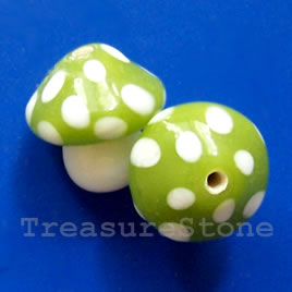 Bead, lampworked glass, green, 15mm mushroom. Pkg of 2.