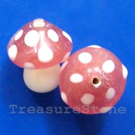 Bead, lampworked glass, pink, 15mm mushroom. Pkg of 2.