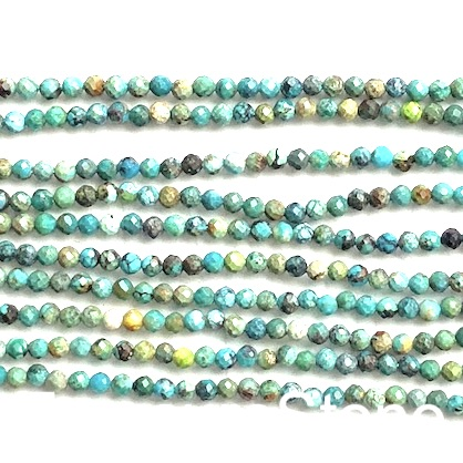 Bead, turquoise (natural), 3.5mm faceted round. 15.5-inch,110pcs
