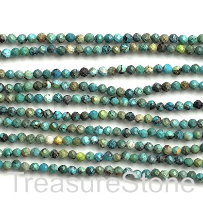 Bead, turquoise (natural), 3mm faceted round. 15.5-inch strand.