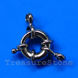 Clasp, springring, black colore, 13mm nautical.Sold individually