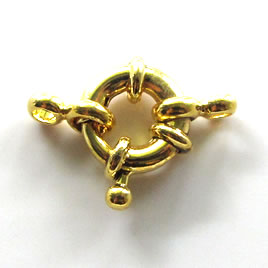 Clasp, springring, gold_plated, 11mm nautical. Sold individually