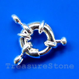 Clasp, springring, plated brass, 11mm nautical.Sold individually