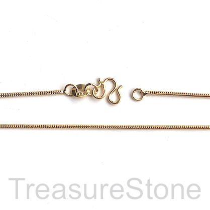 Necklace Chain, 24 K gold plated brass 1mm snake, 23 inch. Each