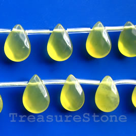 Olive jade,9x12mm top-drilled faceted puffed teardrop. 33 pcs