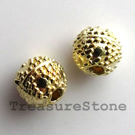 Bead, bright gold-finished, 6mm round. Pkg of 18.