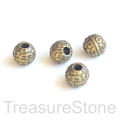 Bead, antiqued brass finished, 7mm round. 15pcs