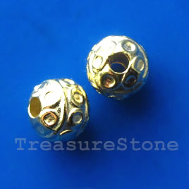 Bead, bright gold-finished, 8mm round. Pkg of 15.