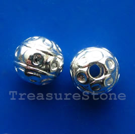 Bead, silver-finished, 8mm round. Pkg of 15.