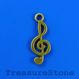 Charm/pendant, brass-plated, 10x21mm treble clef. Pkg of 6.