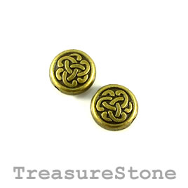 Bead, brass finished. 10mm flat round, celtic knot. Pkg of 12.