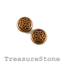 Bead, copper finished. 10mm flat round, celtic knot. Pkg of 12.
