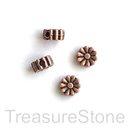 Bead, copper finished, 4x6mm flower. 20pcs
