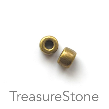 Bead, antiqued brass finished, 5x7mm tube. Pkg of 20.