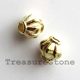 Bead, bright gold-finished, 6mm bicone. Pkg of 20.