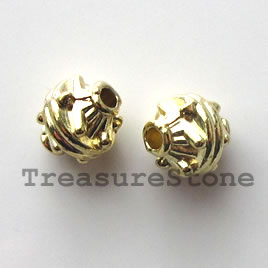 Bead, bright gold-finished, 7x8mm. Pkg of 15.