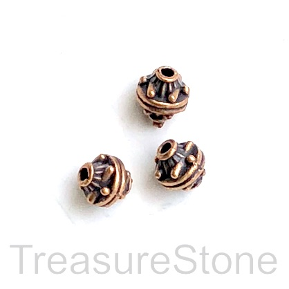 Bead, antiqued copper finished, 7x8mm. Pkg of 12