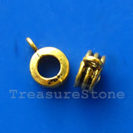 Bead, antiqued gold-finished, 4x9mm. Pkg of 15.