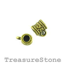 Bead, charm hanger, brass finished. 8x7mm tube w loop. Pkg of 12