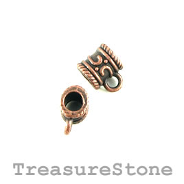 Bead, charm hanger, copper finished. 8mm tube w loop. Pkg of 12