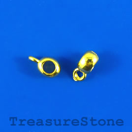 Bead, charm hanger, gold-finished, 5mm tube w loop. Pkg of 22.