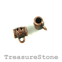 Bead, charm hanger, copper finished. 9mm tube w loop. Pkg of 12
