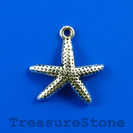 Charm/pendant, silver-plated, 18x20mm starfish. Pkg of 6.