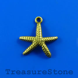 Charm/pendant, brass-plated, 18x20mm starfish. Pkg of 6.