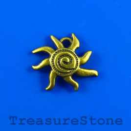 Charm/pendant, brass-plated, 17mm sun. Pkg of 6.