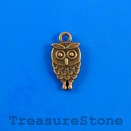 Charm/pendant, copper-plated, 9x16mm owl. Pkg of 12.