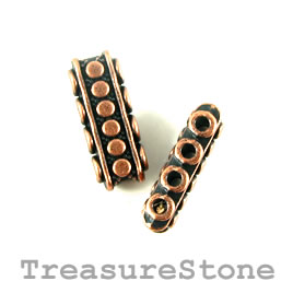 Bead, copper finished, 4-strand spacer/slider, 7x18mm. Pkg of 8