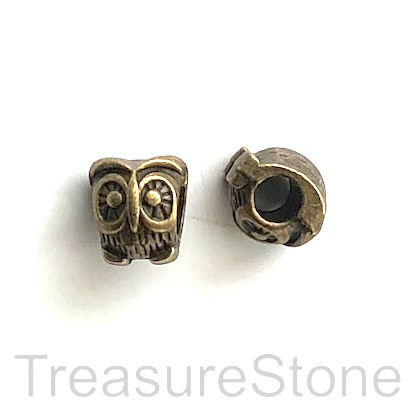 Bead, brass finished, 10x11mm owl, large hole, 4mm. Pkg of 9.