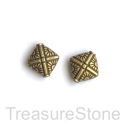 Bead, brass finished, 12mm flat diamond. 10pcs