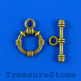 Clasp, toggle, antiqued brass-finished,16/24mm. Pkg of 7.