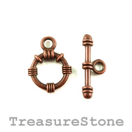 Clasp, toggle, antiqued copper-finished, 16mm/24mm. Pkg of 6.