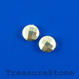 Bead, silver-finished, 10mm faceted puff round. Pkg of 11.