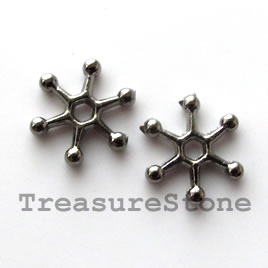 Bead, gunmetal-finished, 12mm daisy. Pkg of 20.