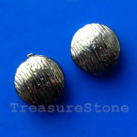 Bead, gunmetal-finished, 10mm puffed round. Pkg of 12.